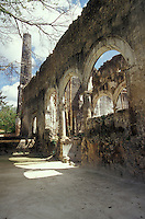 Ruins of henequen processing facilities at hacienda Uaymon, Campeche state, Mexico