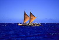 Historic Polynesian voyaging canoe, Hokule'a, sails offshore of Honolulu, Oahu, Hawaii