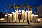 Artist Chris Burden installation of old Los Angeles street lamps titled Urban Light at the Broad Contemporary Art Musuem at LACMA