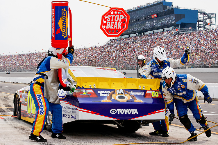 19 June, 2011: David Reutimann pits during the 43rd Annual Heluva Good! Sour Cream Dips 400 at Michigan International Speedway in Brooklyn, Michigan.