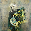 Old woman holding a harp. Photo based illustration.