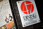 Signs an the entrance to  47 Dining in Tokyo,  Japan on 13 Nov. 2012. The restaurant specializes in Fukushima cuisine and promoting produce from the stricken prefecture, which was at the center of one of the biggest nuclear disasters in history in March 2011. Photographer: Robert Gilhooly