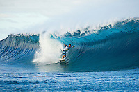 Teahupoo, Tahiti Iti, French Polynesia. Wednesday August 17 2011. A new  west swell was hitting the main reef today with clean open barrels in the six foot range. Anthony Walsh (AUS). Photo: joliphotos.com