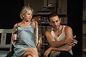"London, UK. 26.06.2012. ""Chicken"", starring Lisa Maxwell and Craig Kelly opens at the Trafalgar Studios. Picture shows:  Craig Kelly, George Georgiou and Lisa Maxwell. Photo credit: Jane Hobson."