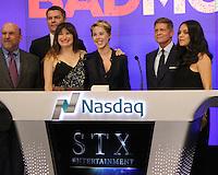 NEW YORK, NY-July 28:  Thomas B. McGrath, Robert Simonds, Kathryn Hahn, Sophie Watts, Robert Simonds, Mila Kunis at STX Entertainment '& Bad Moms' cast  Ring The NASDAQ Closing Bell at Time Square New York. NY July 28, 2016. Credit:RW/MediaPunch
