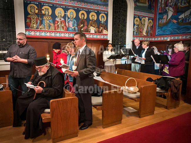 Resurrection Matins, evening before Easter Sunday, the blessing of the baskets, St. Sava Serbian Orthodox Church, midnight in Jackson, Calif.