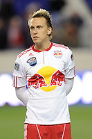 Brian Nielsen (21) of the New York Red Bulls during pre-game introductions. The New York Red Bulls defeated the Philadelphia Union 2-1 during a US Open Cup qualifier at Red Bull Arena in Harrison, NJ, on April 27, 2010.