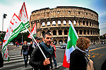 ITALY, ROME, November 5, 2011.Italy demonstrators of the Centre-left party (Democratic Party) take part in a rally against the government of Italian Prime Minister Silvio Berlusconi in Rome November 5 , 2011. VIEWpress / Kena Betancur.Italy's P.M. Berlusconi resigned on Saturday after new budget law is approved in parliament. The approval of the package will mark the final of the Berlusconi government..Local Media Report