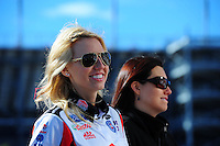 Apr. 4, 2011; Las Vegas, NV, USA: NHRA funny car driver Courtney Force (left) with sister Ashley Force Hood during testing at The Strip in Las Vegas. Mandatory Credit: Mark J. Rebilas-