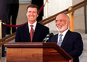 United States Secretary of Defense William S. Cohen (left), and King Hussein I (right), of the Hashemite Kingdom of Jordan, conduct a joint press availability on the steps of the Pentagon on April 2, 1997.  Cohen hosted an armed forces full honors arrival ceremony welcoming Hussein to the Pentagon.                                                                              Mandatory Credit: Helene C. Stikkel / DoD via CNP.