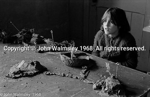 In the art room, Summerhill school, Leiston, Suffolk, UK. 1968.