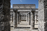 Square of the Thousand Columns, 900-1200 AD, adjoining the Temple of the Warriors on the eastern plaza of the central plain of Chichen Itza, each of the pillars represents a Quetzalcaan who has reached the highest levels of knowledge, Toltec architecture, 1100-1300 AD, Chichen Itza, Yucatan, Mexico. Picture by Manuel Cohen