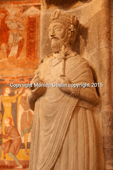 Statue of Charlemagne inside the Benedictine Convent of Saint John which was established about 780, full of 9th century frescos and Carolingian Art; a UNESCO World Heritage Site; in Mustair, Switzerland