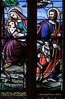 September 26, 2016; Stained glass window in the Basilica of the Sacred Heart depicting the Flight Into Egypt by the Holy Family. (Photo by Matt Cashore/University of Notre Dame)