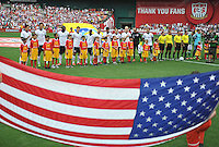 USMNT during the sinning of the National Anthem. The USMNT defeated Germany 4-3, during and international friendly commemorating the centennial celebration for U.S. Soccer, at RFK Stadium, Sunday July 2 , 2013.