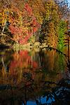 Autumn reflections in the lake at Chateau de la Hulpe, etang de la longue queue, near Brussels, Belgium.
