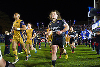 Nick Auterac and the rest of the Bath Rugby team run out onto the field. European Rugby Challenge Cup match, between Bath Rugby and Bristol Rugby on October 20, 2016 at the Recreation Ground in Bath, England. Photo by: Patrick Khachfe / Onside Images