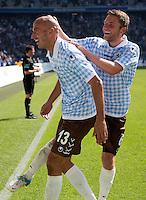 Fussball 2. Bundesliga:  Saison   2012/2013,    6. Spieltag  TSV 1860 Muenchen - Eintracht Braunschweig  23.09.2012 Jubel Necat Ayguen und Dominik Stahl   (v. li., 1860 Muenchen)