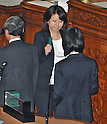 June 26, 2012, Tokyo, Japan : Member of the House of Representatives, Kazumi Ota casts her vote a plenary session of the Diet lower house in Tokyo, Japan,  on  June 26, 2012.