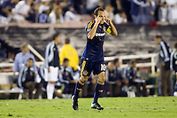 LA Galaxy midfielder Landon Donovan tells his reammates to think and use your head. Real Madrid beat the LA Galaxy 3-2 in an international friendly match at the Rose Bowl in Pasadena, California on Saturday evening August 7, 2010.