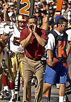 49ers head coach Steve Mariucci on Sunday, November 3, 2002, in Oakland, California. The 49ers defeated the Raiders 23-20 in an overtime game.