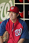 20 September 2012: Washington Nationals catcher Kurt Suzuki sits in the dugout at batting practice prior to a game against the Los Angeles Dodgers at Nationals Park in Washington, DC. The Nationals defeated the Dodgers 4-1, clinching a playoff birth: the first time for a Washington franchise since 1933. Mandatory Credit: Ed Wolfstein Photo