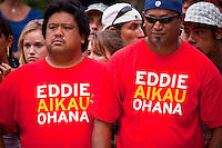 HALEIWA, HI (Thursday Dec. 3, 2009) The opening ceremony of the Quiksilver in Memory of Eddie Aikau was held today at Waimea Bay. This year's event is the 25th Anniversary  and will be held on one day , between December 1, 2009 and February 28, 2010, when the waves eceed the  20 foot  minimum threshold and the 28 invitees will compete for the $98.000 prize purse...The northern hemisphere winter months on the North Shore signal a concentration of surfing activity with some of the best surfers in the world taking advantage of swells originating in the stormy Northern Pacific. Notable North Shore spots include Waimea Bay, Off The Wall, Backdoor, Log Cabins, Rockpiles and Sunset Beach... Ehukai Beach is more  commonly known as Pipeline and is the most notable surfing spot on the North Shore. It is considered a prime spot for competitions due to its close proximity to the beach, giving spectators, judges, and photographers a great view...The North Shore is considered to be one the surfing world's must see locations and every December hosts three competitions, which make up the Triple Crown of Surfing. The three men's competitions are the Reef Hawaiian Pro at Haleiwa, the O'Neill World Cup of Surfing at Sunset Beach, and the Billabong Pipeline Masters. The three women's competitions are the Reef Hawaiian Pro at Haleiwa, the Gidget Pro at Sunset Beach, and the Billabong Pro on the neighboring island of Maui...Photo: Joliphotos.com