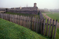 AJ4379, Fort Stanwix, Rome, Fort Stanwix National Monument, New York, Foggy morning at Fort Stanwix Nat'l Monument in Rome in the state of New York.