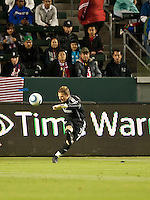 CARSON, CA – APRIL 9, 2011: Chivas USA goalie Dan Kennedy (1) kicks the ball into play during the match between Chivas USA and Columbus Crew at the Home Depot Center, April 9, 2011 in Carson, California. Final score Chivas USA 0, Columbus Crew 0.