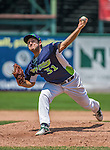 8 July 2014: Vermont Lake Monsters pitcher Michael Fagan on the mound against the Lowell Spinners at Centennial Field in Burlington, Vermont. The Lake Monsters rallied with two runs in the 9th to defeat the Spinners 5-4 in NY Penn League action. Mandatory Credit: Ed Wolfstein Photo *** RAW Image File Available ****