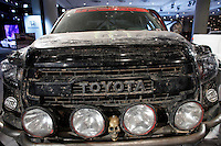 The damaged Toyota SUV is exhibit at the 2015 New York International Auto Show in New York City. 04.06.2015. Kena Betancur/VIEWpress.