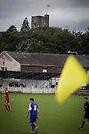 Clitheroe 0 Consett 1, 20/08/2016. Shawbridge, Northern Premier League Division One North. Clitheroe Castle forms the backdrop during the first-half as Clitheroe (in blue) play Consett at Shawbridge in an FA Cup preliminary round tie. Northern Premier League division one north team Clitheroe were formed in 1877 and have played at the same ground since 1925. Visitors Consett, from the Northern League division one, won the match 1-0, watched by 207 spectators. Photo by Colin McPherson.