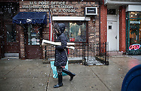 Wintry Storm Northeast begins to affect the area on Hoboken, United States. 07/11/2012. Photo by Kena Betancur/VIEWpress.