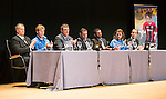 St Johnstone FC Youth Academy Presentation Night at Perth Concert Hall..21.04.14<br /> From left, Alistair Stevenson, David Wotherspoon, Tommy Wright, Steve Brown, Callum Davidson, Stevie May and Alec Cleland<br /> Picture by Graeme Hart.<br /> Copyright Perthshire Picture Agency<br /> Tel: 01738 623350  Mobile: 07990 594431