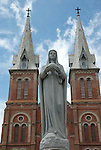 Madonna statue in front of the Catholic Cathedral in Saigon Vietnam