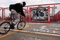 New York, NY - 26 March 2008 - Graffiti on the pedestrian walkway of the Williamsnurg Bridge.