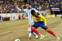 Argentina forward Gonzalo Higuain (9) battles for the ball with Ecuador defender Frickson Erazo (3). Argentina and Ecuador played to a 0-0 tie during an international friendly at MetLife Stadium in East Rutherford, NJ, on November 15, 2013.