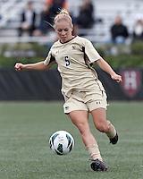 Boston College midfielder Lauren Bernard (5) brings the ball forward. Pepperdine University defeated Boston College,1-0, at Soldiers Field Soccer Stadium, on September 29, 2012.