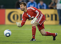 Earthquakes' goalkeeper Jon Busch in action during the game against the Sounders at Buck Shaw Stadium in Santa Clara, California on July 31st, 2010.   Seattle Sounders defeated San Jose Earthquakes, 1-0.