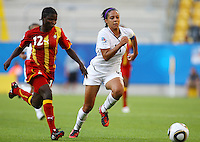 USA's Sydney Leroux (R) and Mantenn Kobblah of Ghana during the FIFA U20 Women World Cup at the Rudolf Harbig Stadium in Dresden, Germany on July 14th, 2010.