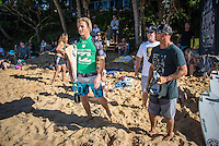 Pipeline-Backdoor, North Shore, Oahu, Hawaii. (Sunday December 11, 2016):  Finn McGill (HAW)  with coach Rainos Hayes (HAW) and Richard Dog Marsh (AUS) - The Men's Pipe Invitational, the selection trials fro the Billabong Pipeline Masters was run today at Backdoor and Pipeline. Two surfers, Finn McGill (HAW) and Gavin Beschen (HAW) won there way through to the main event. 32 surfers started in the trials with four man heats running all day through to final. McGill combo the other finalists with Beschen filling second spot. The NW swell meant a lot of the surfing was at Backdoor with the occasional Pipeline wave. <br /> Photo: joliphotos