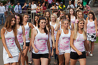 """Moscow Russia, 23/07/2011..Members of Putin's Army, a group of Pro-Putin activists that launched on the Internet last week with a video of scantily clad young Russian women, campaign in central Moscow under the slogan """"Tear Something For Putin""""."""