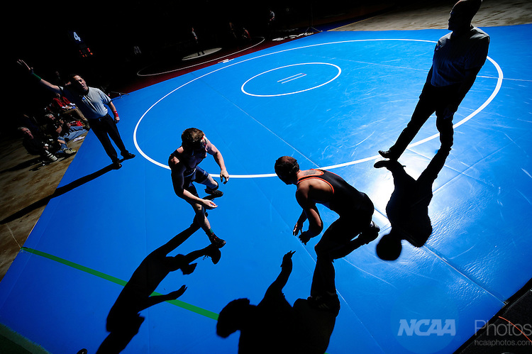 12 MAR 2011: William Livingston of Centenary takes on Mike McInally in the semifinals of the 133 lbs competition during the Division III Men's Wrestling Championship held at the La Crosse Center in La Crosse Wisconsin. Stephen Nowland/NCAA Photos