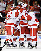 Joe Pereira (BU - 6), Charlie Coyle (BU - 3), Adam Clendening (BU - 4) - The Boston University Terriers defeated the visiting University of Toronto Varsity Blues 9-3 on Saturday, October 2, 2010, at Agganis Arena in Boston, MA.