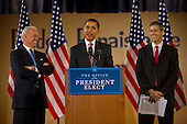 Chicago, Il - December 16, 2008 -- United States President-elect Barack Obama, center, announces the nomination of Chicago School Chief Arne Duncan, right, to be his Secretary of Education at a news conference at Dodge Renaissance Academy on Chicago's West Side on Tuesday, December 16, 2008.  Vice President-elect Joseph Biden stands at left..Credit: Ralf-Finn Hestoft - Pool via CNP