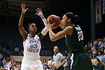 25 March 2014: North Carolina's Diamond DeShields (left) guards Michigan State's Aerial Powers (right). The University of North Carolina Tar Heels played the Michigan State University Spartans in an NCAA Division I Women's Basketball Tournament First Round game at Cameron Indoor Stadium in Durham, North Carolina. UNC won the game 62-53.