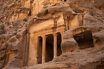 Carved pillars and room in Little Petra