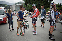 UCI bike check for Lars Bak (DEN/Lotto-Soudal) at the finish; &quot;I'm curious to know if it gained any weight...&quot;<br /> <br /> Stage 18 (ITT) - Sallanches &rsaquo; Meg&egrave;ve (17km)<br /> 103rd Tour de France 2016