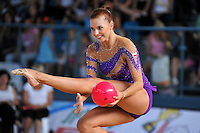 Joanna Mitrosz of Poland performs with ball at 2010 Holon Grand Prix at Holon, Israel on September 3, 2010.  (Photo by Tom Theobald).