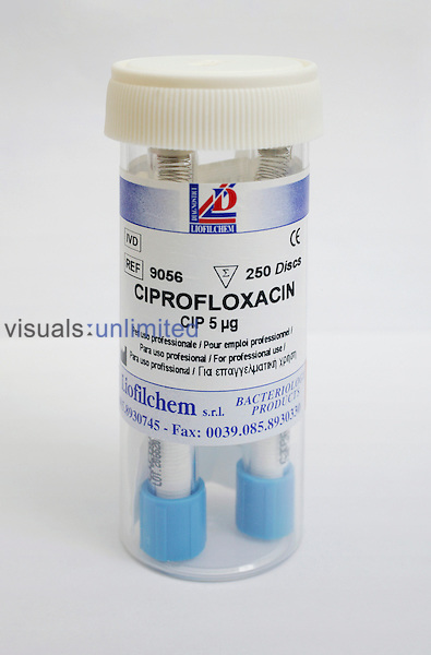 Ciprofloxacin, used to treat and prevent certain infections caused by bacteria.  It has also been known that Ciprofloxacin is used to treat anthrax in people who have been exposed to the virus. Royalty Free